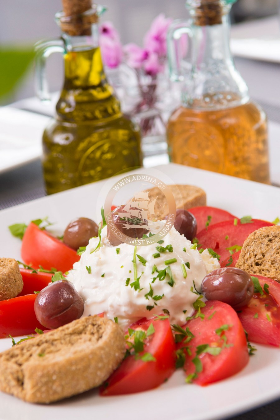 Salad with dakos, olives and katiki cheese