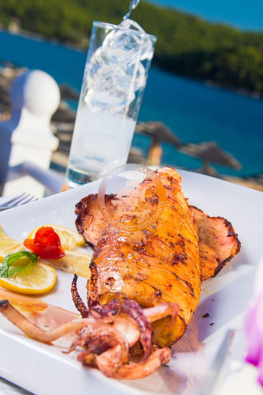 Grilled calamari with ouzo