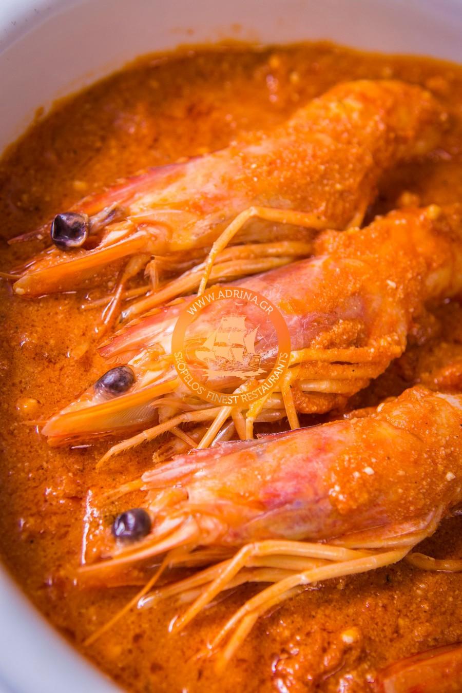 Sauté shrimp (saganaki)